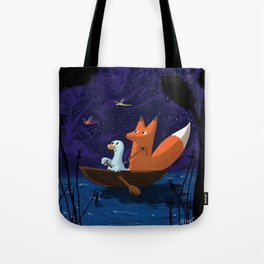 Fox & Duck Looking For Dragonflies Tote Bag