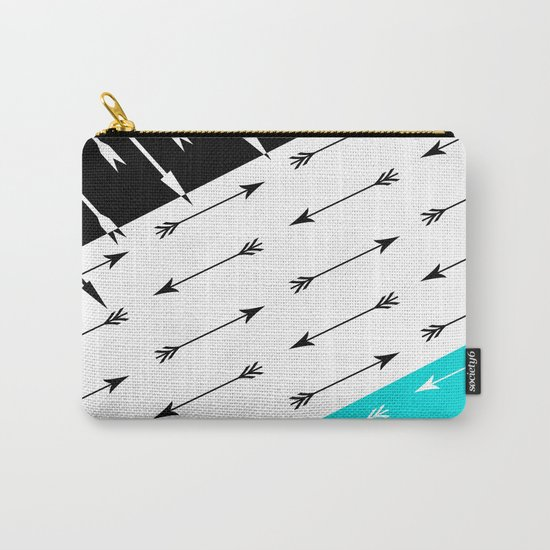 Turquoise black white pattern Boom 2 . Carry-All Pouch