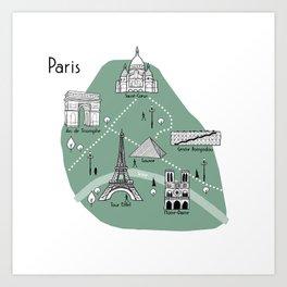 Mapping Paris - Green Art Print