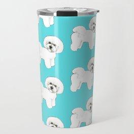 Bichon Frise on aqua / teal / cute dogs/ dog lovers gift Travel Mug