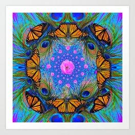 MONARCH BUTTERFLIES & PINK ROSES Art Print