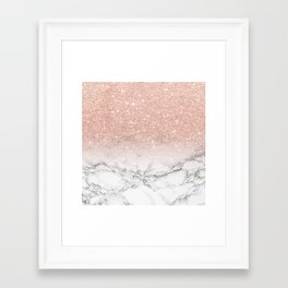 Modern faux rose gold pink glitter ombre white marble Framed Art Print