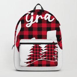Grammy Bear Matching Pajama Family Red Plaid Buffalo  Backpack
