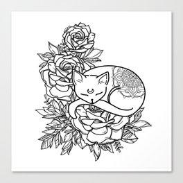 Black and White Line Art Flower Cat Canvas Print