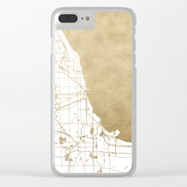 Chicago Gold and White Map Clear iPhone Case