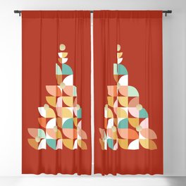 Retro Christmas Tree on Red Blackout Curtain