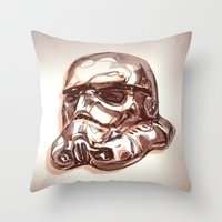 storm trooper Throw Pillows featuring Storm Trooper by scottpratherpaints