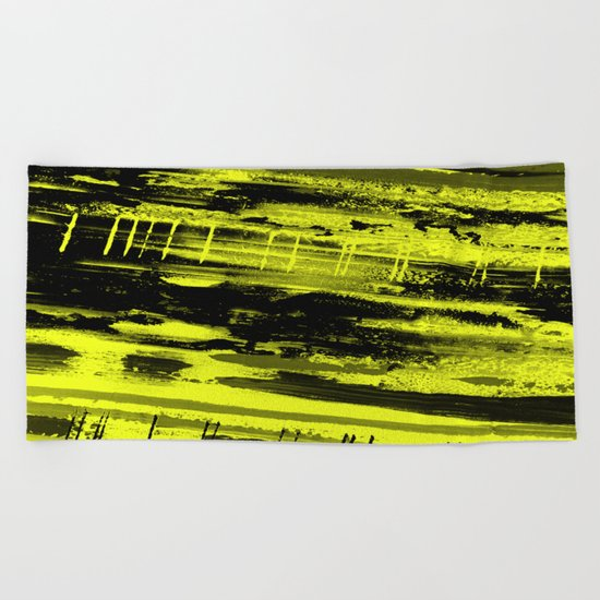 Study In Yellow - Abstract, yellow painting Beach Towel