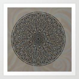 Circle of Life Mandala Brown and Blue Art Print