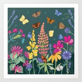 Butterfly Friendly Flowers Art Print