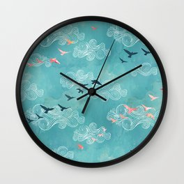 Blue sky birds Wall Clock