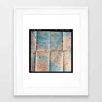 vintage map Framed Art Prints featuring Map by Yellow Barn Studio