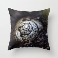 snail Throw Pillows featuring Snail by Gehirnzellenoptik
