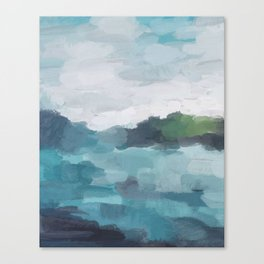 Aqua Blue Green Abstract Art Painting Canvas Print