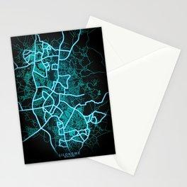 Lilongwe, Malawi, Blue, White, Neon, Glow, City, Map Stationery Cards
