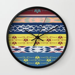 Oceanview Trim Red White Blue Ikat and Fish motif Wall Clock