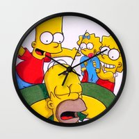simpsons Wall Clocks featuring Simpsons by Brian David