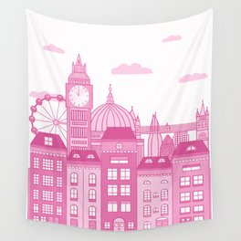 London Skyline Pink Wall Tapestry