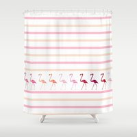 flamingos Shower Curtains featuring FLAMInGOS by Monika Strigel