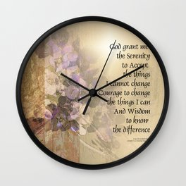 Serenity Prayer Quince and Fence 2 Wall Clock