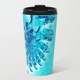 Abstract Art in Blue Fractal Travel Mug
