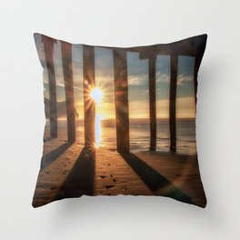 Through the Blinds sun bursts through Avila Pier Avila Beach California Throw Pillow