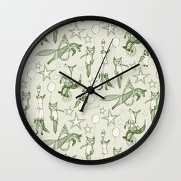 foxy circus green ivory Wall Clock