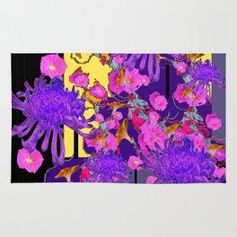 Purple Spider Mums Black & Grey Art Pink Flowers Rug