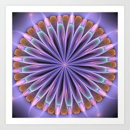 Mandala flower in soft purple, green and orange Art Print