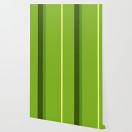A perfect alliance of Sap Green, Yellowish Tan, Icky Green and Navy Green vertical stripes. Wallpaper