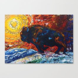 Bison Running print of OLena Art Wild the Storm Oil Painting With Palette Knife #society6 Canvas Print