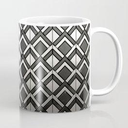 Cascading Squares Black and Silver - Art Deco Pattern Coffee Mug