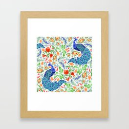 Asian Floral Pattern With Elegant, Lucky Peacocks Framed Art Print