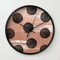rose gold Wall Clocks featuring rose gold #2 by LEEMO