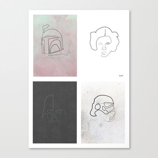 One line Starwars Poster Canvas Print
