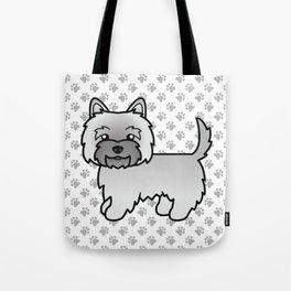 Cute Gray Cairn Terrier Dog Cartoon Illustration Tote Bag