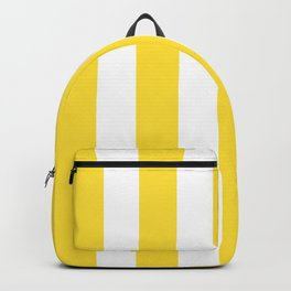 Banana yellow - solid color - white vertical lines pattern Backpack