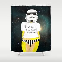 storm trooper Shower Curtains featuring Storm trooper-fan art by Juana Andres
