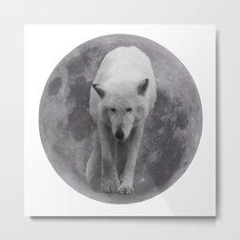 Wolf In Moon Metal Print