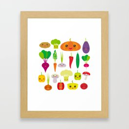 Kawaii vegetables peppers, pumpkin beets carrots, eggplant, red hot peppers, cauliflower, broccoli Framed Art Print