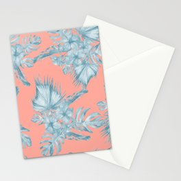 Dreaming of Hawaii Pale Teal Blue on Coral Pink Stationery Cards