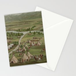 Vintage Pictorial Map of The Denver Settlement (1891) Stationery Cards