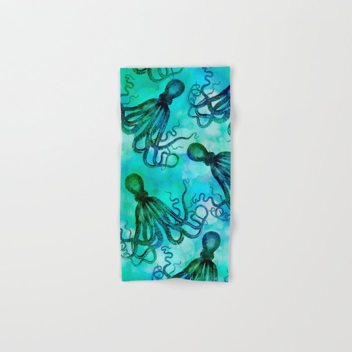 Octopus blue green mixed media underwater artwork Hand & Bath Towel