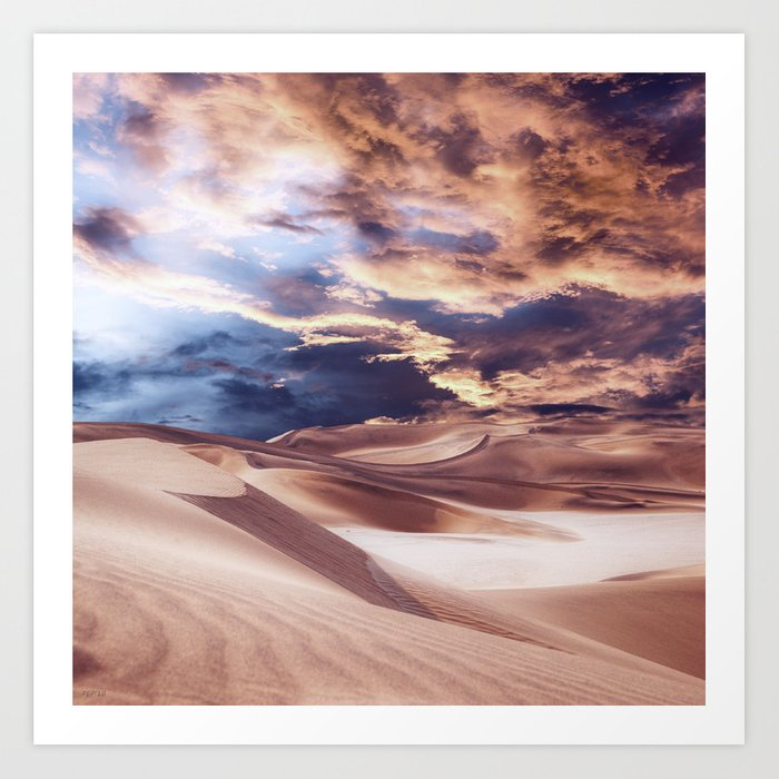 Golden Sand And Clouds Art Print