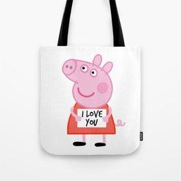 Peppa pig  i love u Tote Bag