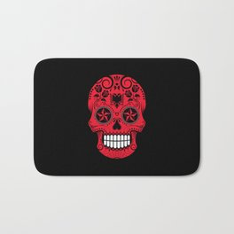 Sugar Skull with Roses and Flag of Albania Bath Mat
