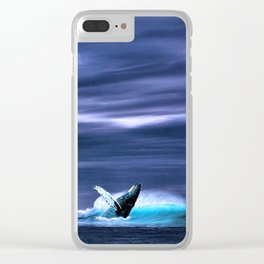 Blue whale breaking surface of ocean Clear iPhone Case