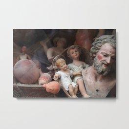 Vintage Baby Jesus Among Dolls Metal Print