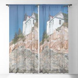 Old Maine Lighthouse // Built on the Seashore Rock Nautical Photograph Sheer Curtain