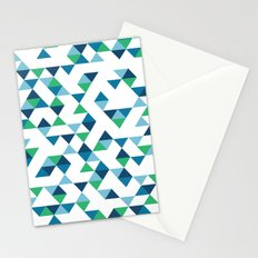 Triangles Blue and Green Stationery Cards